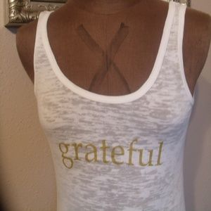 """Grateful"" Spiritual Gangster Gold/White Tank Top"